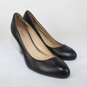 Black Coach Leather Wedge Shoes 8.5 B